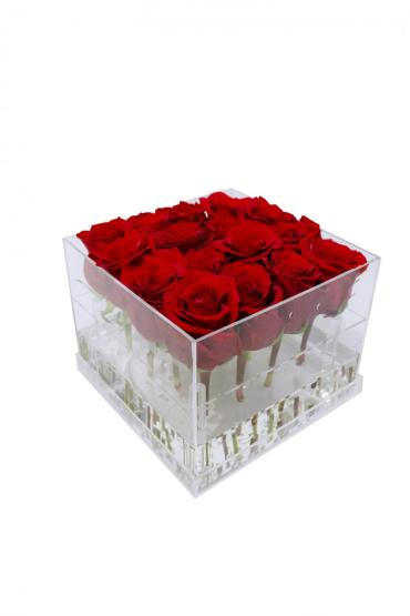 15 Fresh Roses in Acrylic Box